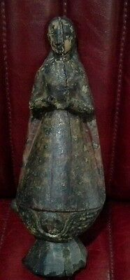Antique Carved Polychrome Wood SANTOS 18th century Spanish Colonial, Mary