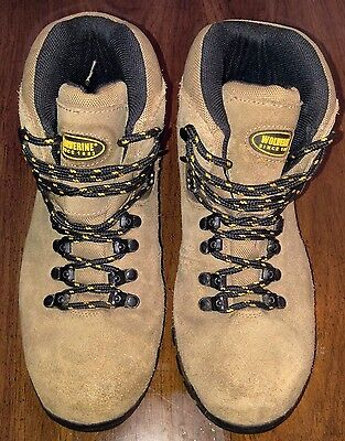 Men's Wolverine Brown Leather Work Boots Us Size 10M (08160)