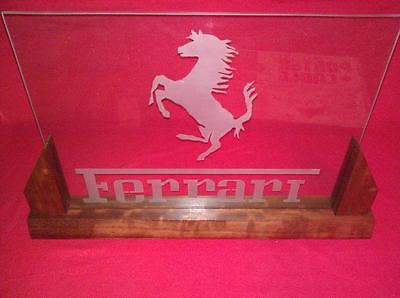 FERRARI Horse Logo Glass etched Display Sign with nice Wood Base Specialty Item