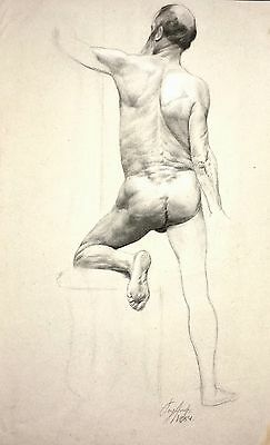 Antique Male Nude Drawing / Academic Study / Signed and Dated 1884