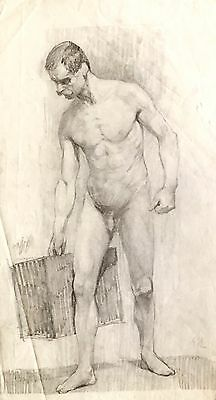 Antique Male Nude Drawing / Academic Study / 19th Century Original