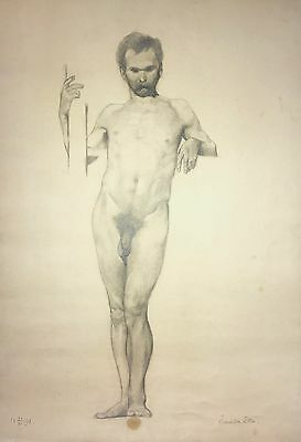 Large Antique Male Nude Drawing / Academic Study / 1898 Original Signed