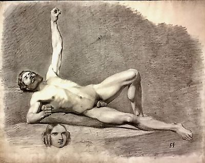 Large Antique Male Nude Drawing / Academic Study / Late 19th Century