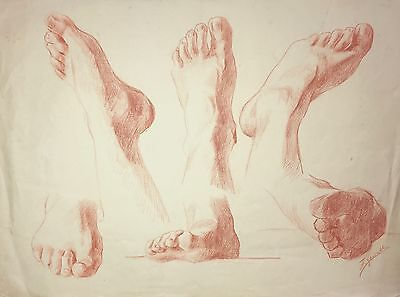 Antique Drawing of Feet / Academic Study / 19th Century / Signed