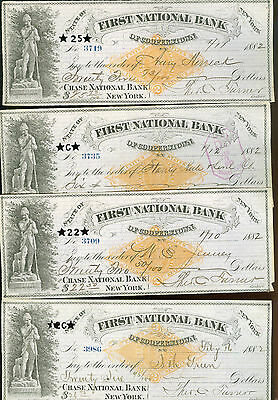 checks-lot of 8-1882First National Bank-Cooperstown, New York