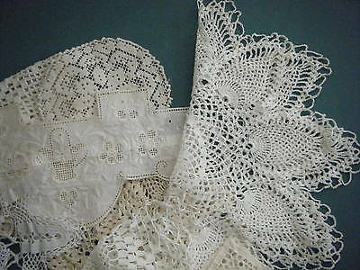 Antique Vintage Lot Lace Doilies Crochet Tatted Net Perfect & Cutters Pineapple