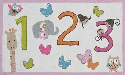 Counting Children's Area Rug Animals Mat Nursery Kids Room Play Room Decor New