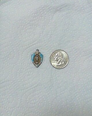 VINTAGE ANTIQUE 925 STERLING SILVER RELIGIOUS NECKLACE PENDANT CHARM Mother Mary