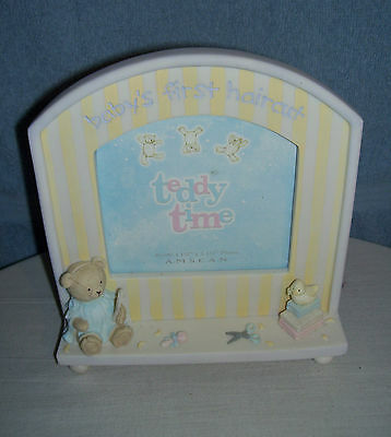 """Teddy Time """"Baby's First Haircut"""" Baby Picture Frame  Holds 4.5""""x 4.5"""" photo"""
