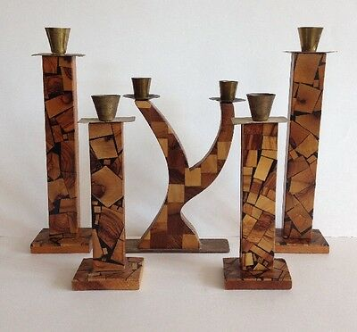 Antique Vintage Marquetry Candle Stick Holders Set of 5 Inlaid Wood Stamped Mark