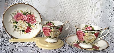 "2 Queen Anne ""LADY SYLVIA"" Tea Cup & Saucer - Red/Pink White Roses (727)"