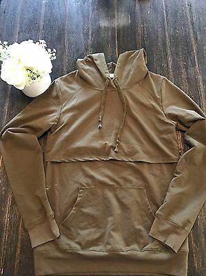 Latched Mama Nursing Hooded Sweater Olive Green Size Large