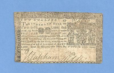1774 $ 2 Maryland Colonial Currency Very Fine Condition Sharp Early Note
