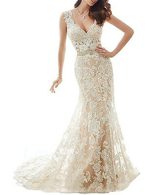 New Lace White/Ivory Wedding Dresses Bridal Gown Custom Size 6 8 10 12 14 16 18+