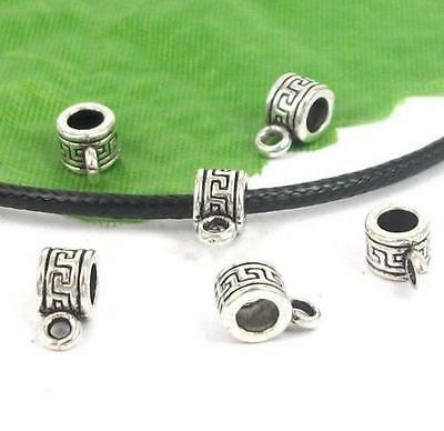 Free Ship 50Pcs Tibetan Silver Spacer Bail Beads Connector 10x5mm Hole:3mm