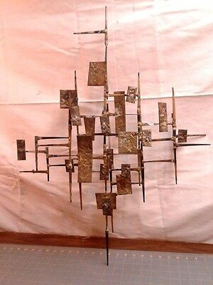 Mid Century Modern Brutalist Atomic Retro Wall Sculpture Art Cut Nails