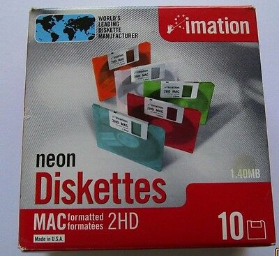 "Neon Diskettettes Imation MAC Formatted 2 HD 1.4 MB 3.5"" Computer 9 in Box"