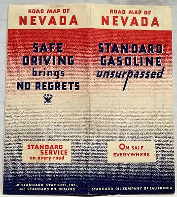 Standard Oil Company State Of Nevada Highway Road Map 1934 Vintage Travel