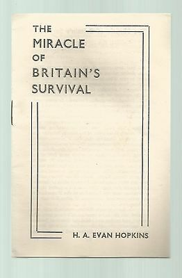 Miracle of Britian's Survival, H A Evan Hopkins, 15 page booklet, 1944