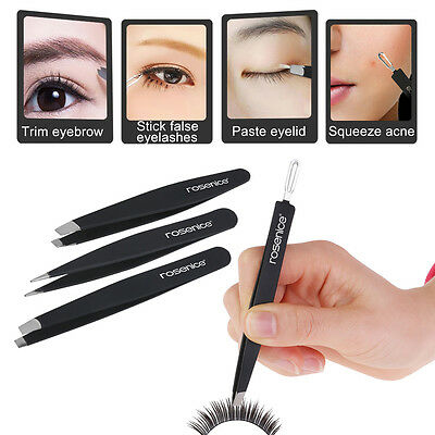 4pcs Professional Eyebrow Tweezers Hair Beauty Slanted Stainless Steel Kit Pouch