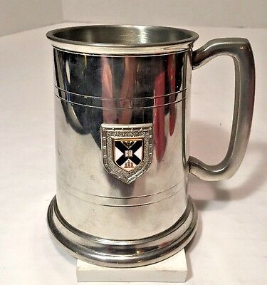 "English Pewter Beer Stein Tankard Sheffield with Insignia Clean Unused 5"" EUC"