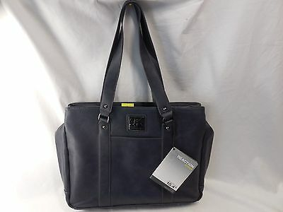 Kenneth Cole 538938 Reaction Hit a Triple Slate Faux Leather Computer Tote Bag