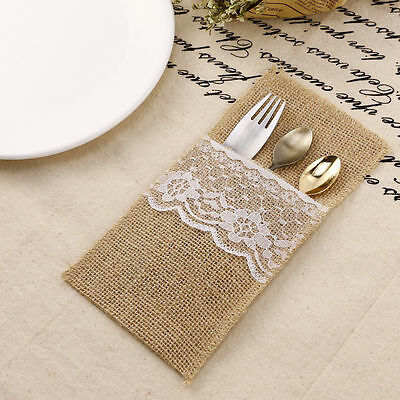 12 Hessian Burlap Lace Cutlery Holder Rustic Wedding Party Table Pouch Vintage