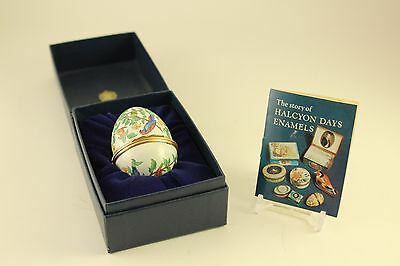 Rare Halcyon Days Enamel Parrot Exotic Bird Easter Egg Shape Hinged Trinket Box