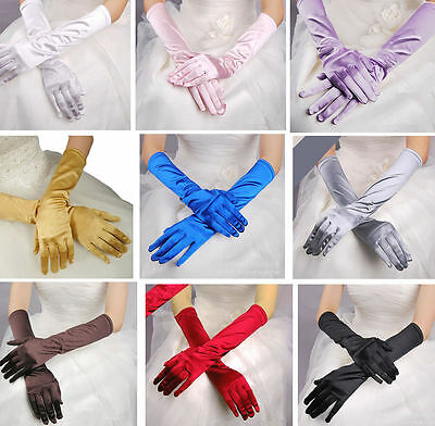 Women Lady Satin Long Gloves Opera Wedding Bridal Evening Party Costume Gloves