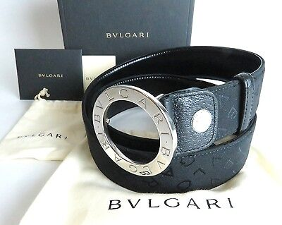 100%Auth BVLGARI Leather × Canvas Black Belt Silver-Tone Buckle Made In Italy