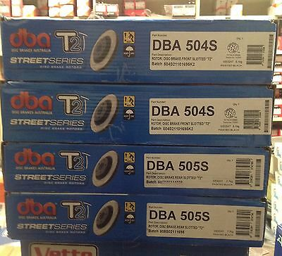 DBA T2 FRONT & REAR SLOTTED ROTORS  suit FORD FALCON XR-6 BA,BF & FG 4.0L BARRA
