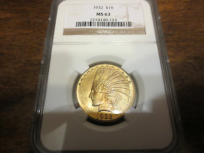 1932 $10 Gold Indian Head Eagle NGC-MS63