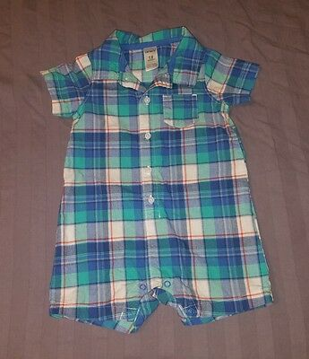 EUC Carters Baby Boy Clothes 18 Months One Piece Short Sleeve Plaid Romper