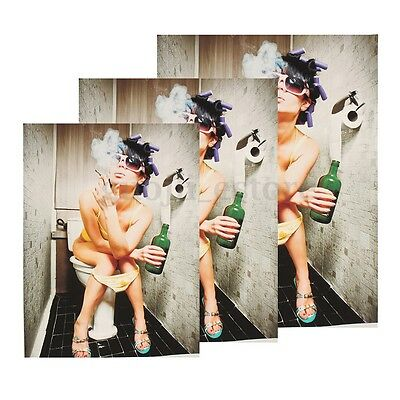 Unframed Smoking Girl Toilet Canvas Painting Print Picture Bathroom Wall Decor