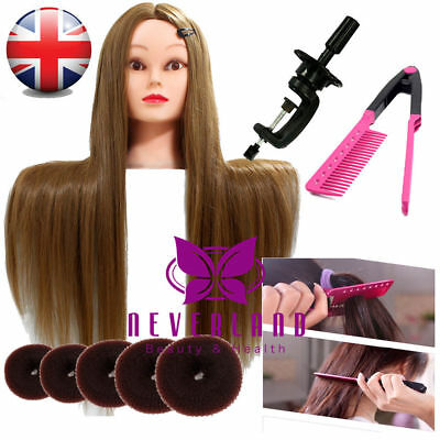 "26"" Long Hair Hairdressing Training Head Mannequin Doll + Braid Set & Clamp UK"