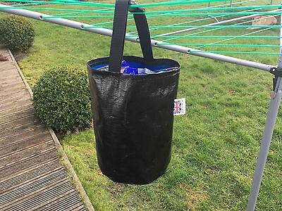 Peg Bag, Black,for Clothesline, Laundry, Heavy Duty, Made In Uk