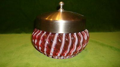"Victorian Cranberry Opalescent  Swirl Art Glass Powder/jewelry Jar""hobbs?"""