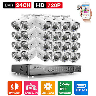 ANNKE 24CH 720P AHD Camera 24 Channel DVR Bullet Security Business Motion Remote