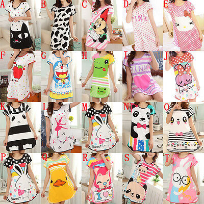 Women Loose Nightgowns Sleepshirts Sleepwear Cute Girl's Underwear Nightdress 1