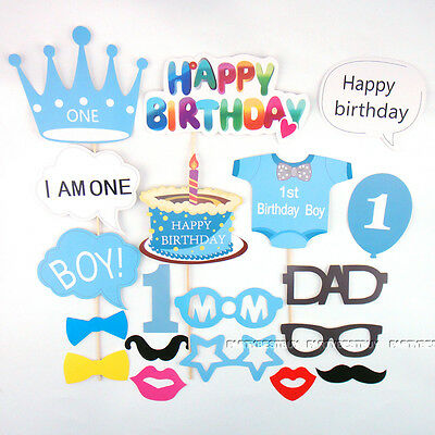25pc Baby Shower Photo Booth Props Blue Boy 1st First Birthday Party Photography