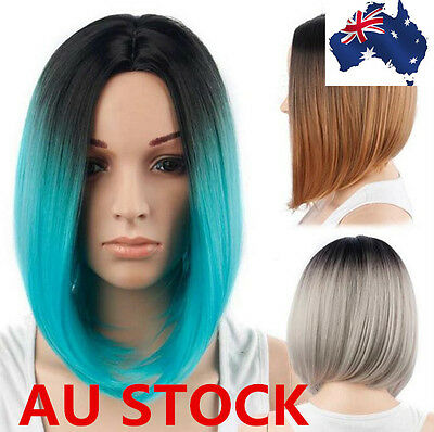 Women Gradient Straight BOB Synthetic Wigs Short Cosplay Party Fashion Full Wig