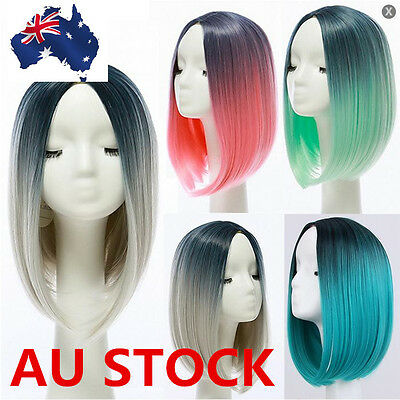 Women Gradient Curly Short Straight Hair Full Wigs Cosplay LOLITA Synthetic Wig