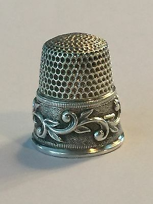 Antique Sterling Silver Thimble Waite Thresher