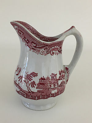 antique ceramic asian themed cream pitcher, England - red and white