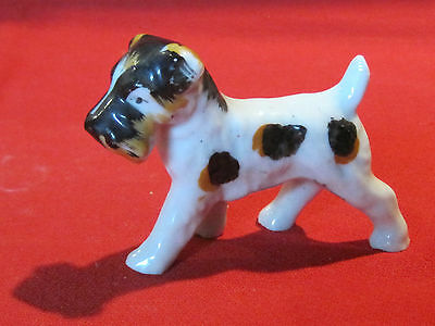 Vintage porcelain Wire Haired Fox Terrier dog figurine, Occupied Japan
