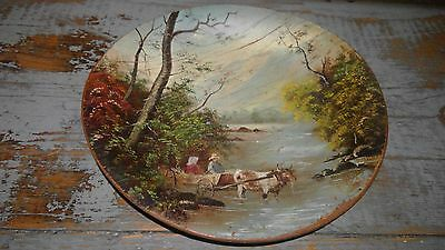 Primitive Antique Folk Art Wooden Treen Ware Plate with Painted Country Scene