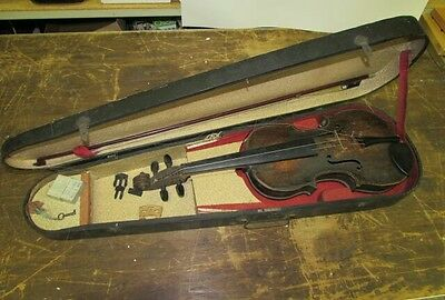 Antique violin with bow and accessories including a key finder