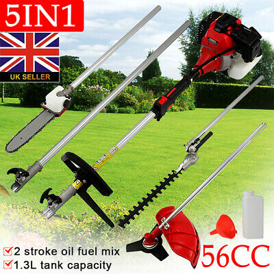 56cc Multi Function Garden Tool 5 in 1 Petrol Strimmer Brush Cutter Chainsaw etc