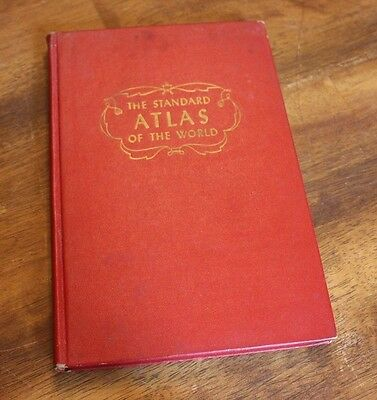 The Standard Atlas of the World 1949 Antique Vintage Map Book Carft Repurpose