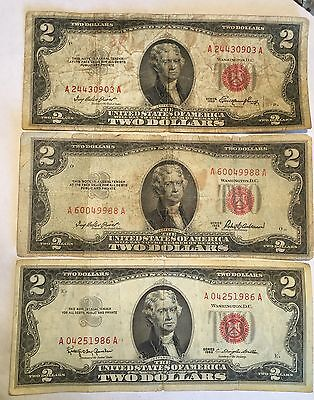 1953 1953A 1963 Two Dollar Bill Lot Of 3